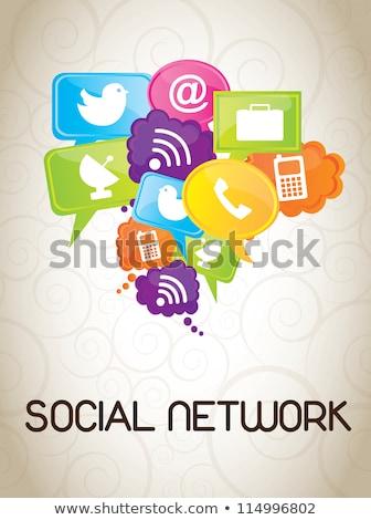 Social · Media · Blasen · sprechen · Verbindung - stock foto © burakowski