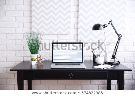 office workplace table and laptop white background architecture Stock photo © juniart