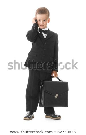 çocuk · iş · takım · elbise · telefon · bavul · küçük - stok fotoğraf © runzelkorn