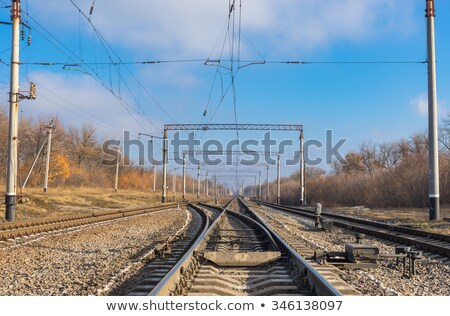 railway wire of the high tension line Stock photo © meinzahn