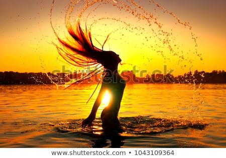 入浴 日没 波 ビーチ 太陽 風景 ストックフォト © meinzahn
