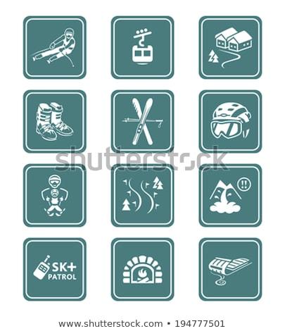 Skiing resort icons || TEAL series Stock photo © sahua