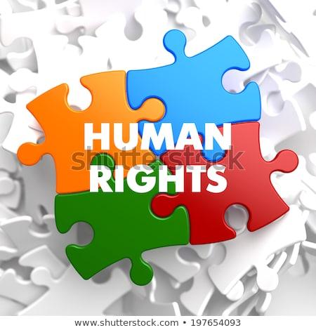 Direitos humanos quebra-cabeça branco comunicação liberdade paz Foto stock © tashatuvango