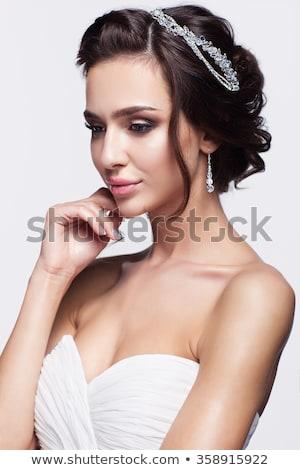 figyelmes · nő · visel · fehérnemű · barna · hajú · szemüveg - stock fotó © lithian