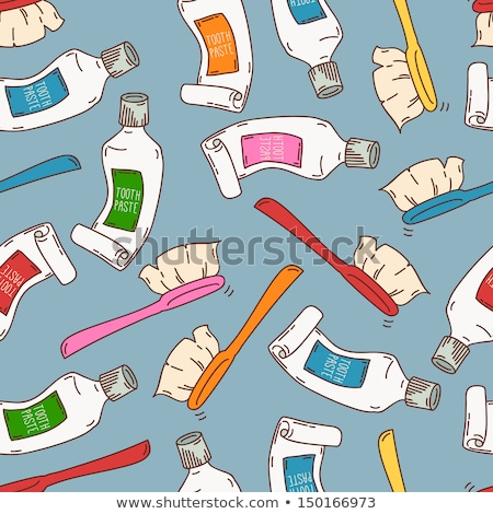 Sketch tooth paste, tooth brush and teeth, vector pattern Stock photo © kali