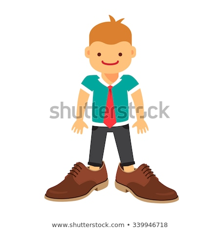 Weinig baby jongen groot schoenen geïsoleerd Stockfoto © EwaStudio