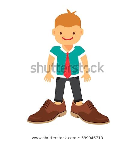 Foto stock: Pequeno · bebê · menino · grande · sapatos · isolado