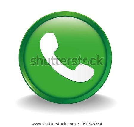 glass icons green talking telephone phone stock photo © moleks