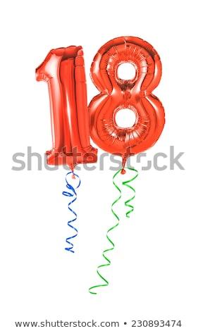 赤 風船 リボン 番号 18 パーティ ストックフォト © Zerbor
