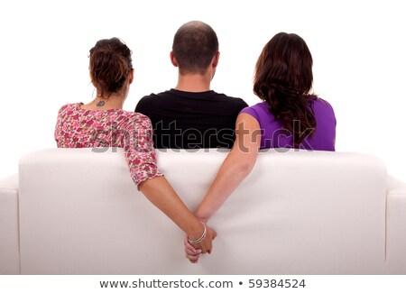 Arkadaşlar kanepe iki kızlar eller yalıtılmış Stok fotoğraf © alexandrenunes
