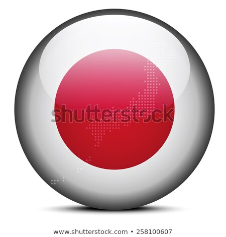 map with dot pattern on flag button of state of japan stock photo © istanbul2009