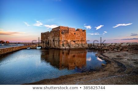 kastély · kikötő · Ciprus · nappal · épület · naplemente - stock fotó © Ava