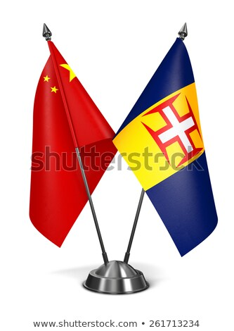 Çin madeira minyatür bayraklar yalıtılmış beyaz Stok fotoğraf © tashatuvango