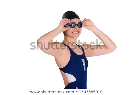 Black goggles for swimming on white background Stock photo © BSANI