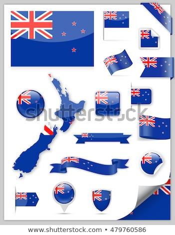 Cuadrados etiqueta bandera Nueva Zelandia aislado blanco Foto stock © MikhailMishchenko