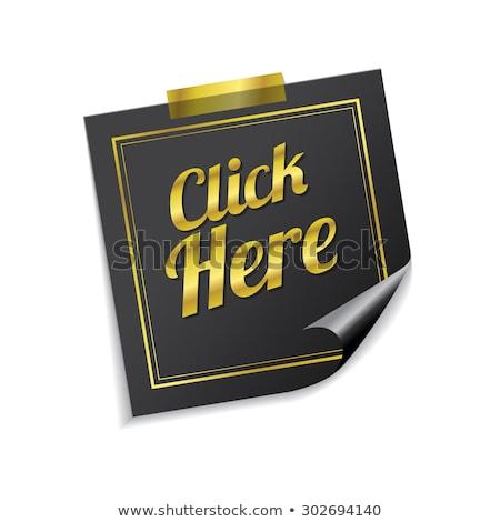 Kliknij tutaj złoty karteczki wektora ikona projektu Zdjęcia stock © rizwanali3d