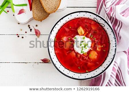 Ukrainian and russian national red soup  - borsch Stock photo © fanfo