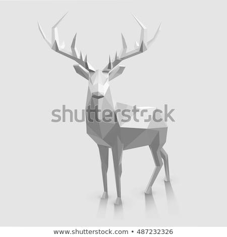 鹿 3D 低い ポリゴン 白 ストックフォト © teerawit
