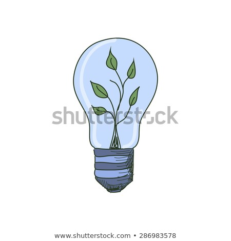 Stock photo: Colored doodle Light Bulb with sprout inside