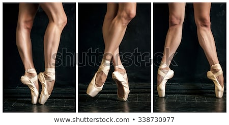 Collage of classic ballerina's legs in pointes on wooden floor Stock photo © master1305