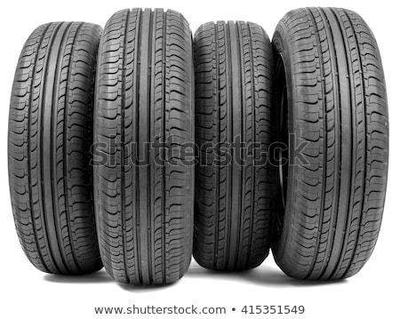 Stack of four wheel new black tyres Stock photo © RuslanOmega