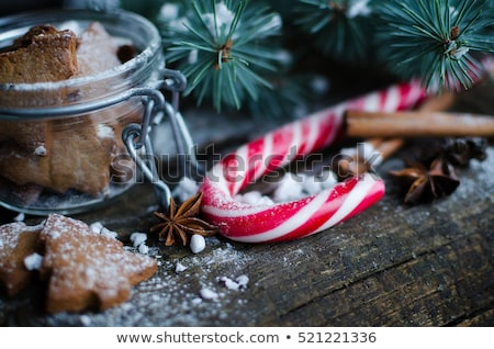 christmas candy cane on a wooden background stock photo © vlad_star