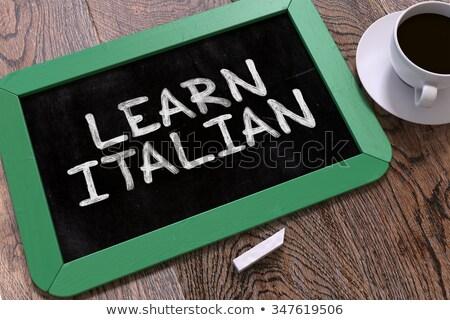 Aprender italiano quadro-negro texto verde Foto stock © tashatuvango