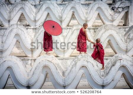 buddhista · kezdő · szerzetes · portré · fiatal · bent - stock fotó © szefei