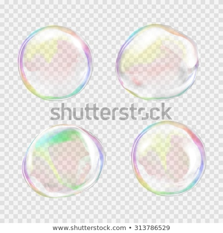 Big glass sphere with transparent glares and highlights on grey background Stock photo © Fosin