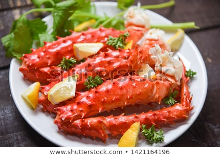 Boiled crab on wooden table Stock photo © marimorena