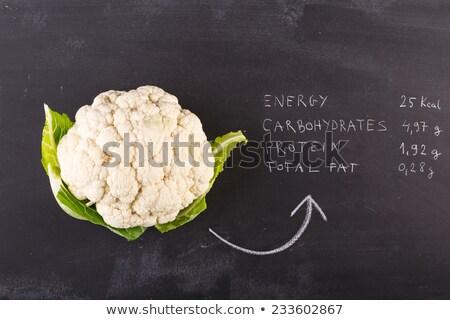 raw food and blackboard isolated on white Stock photo © M-studio