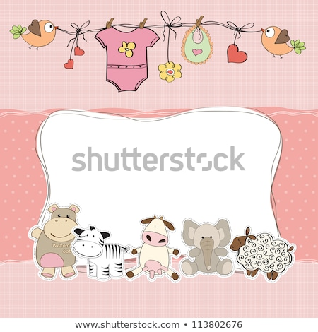 Stock photo: Delicate baby shower card with little birds