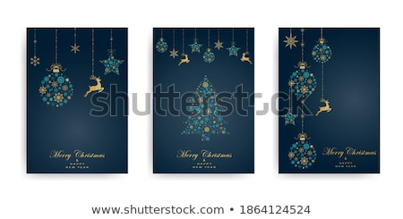 christmas card with silhouette magic deer stock photo © -baks-