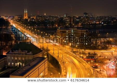 солидарность район Варшава ночь Skyline Польша Сток-фото © rognar