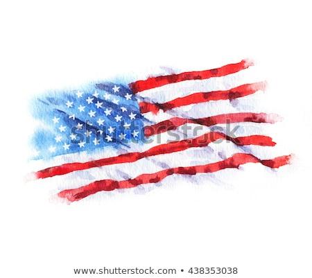 Symbolen amerikaanse overheid aquarel Amerikaanse vlag inkt Stockfoto © TrishaMcmillan
