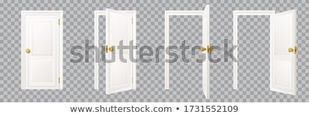 Wooden door closed on white Stock photo © bluering