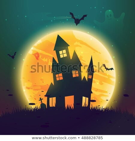 Halloween lune maison heureux affiche Photo stock © SArts