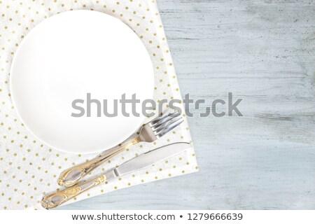 Beyaz gri boş plaka çatal bıçak Stok fotoğraf © Yatsenko