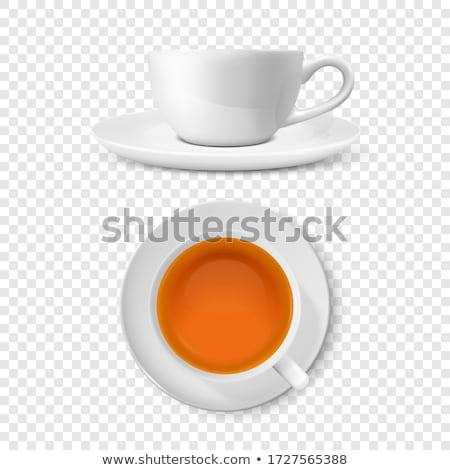 Valósághű piros kávé teáscsésze izolált fehér Stock fotó © robuart