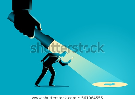 Man holding guiding direction arrow sign Stock photo © stevanovicigor