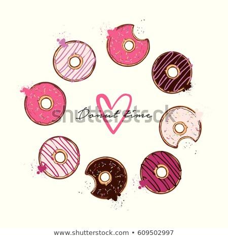 donut logo sweet doughnut design flat food stock photo © robuart