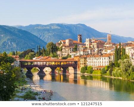 river brenta with romantic village basano del grappa stock photo © meinzahn