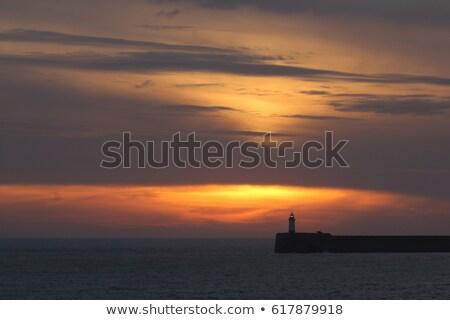 világítótorony · csatorna · szigetek · felhők · nap · tenger - stock fotó © suerob
