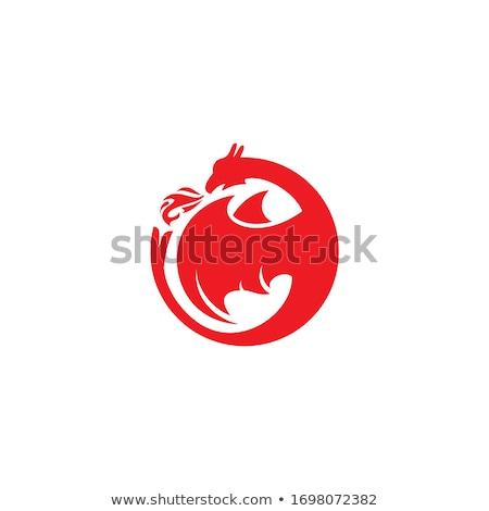 piros · sárkány · illusztráció · vicces · szimbólum · év - stock fotó © krisdog