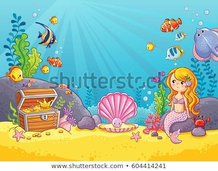 scene with mermaid and sea animals stock photo © bluering