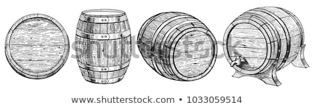 Oude houten metaal bier Rood antieke Stockfoto © BrandonSeidel