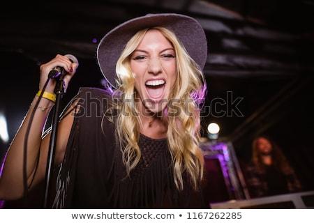 Stock fotó: Derűs · női · énekes · zenészek · előad · zenei · fesztivál