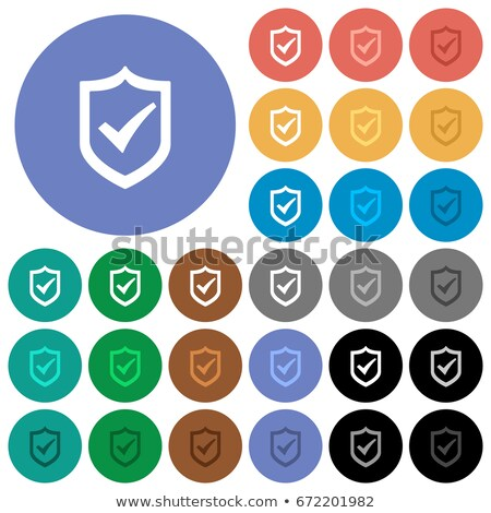Protection shield icon with shade on colored buttons Stock photo © Imaagio