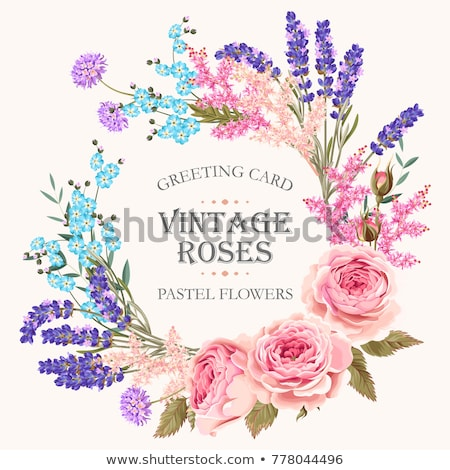 Violette fleur cadre carte de vœux design carte Photo stock © orensila