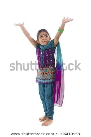 beauty sweet indian girl in sari smiling Stock photo © iordani